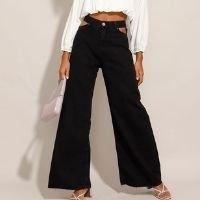 calça wide pantalona jeans cut out cintura super alta