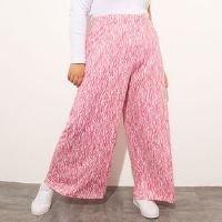 calça reta plus size estampada animal print zebra cintura super alta mindset rosa