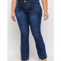 Shyros - Calça Flare Almaria Plus Size Shyros Jeans Azul