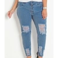 Marguerite - Calça Jeans Claro Boyfriend com Rasgos Plus Size