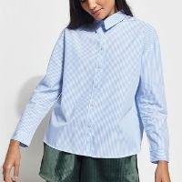 camisa ampla de algodão listrada manga longa mindset azul