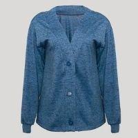 cardigan de tricô feminino mindset longo decote v azul marinho