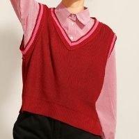 colete de tricô decote v vermelho