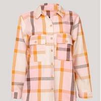 camisa shacket estampada xadrez manga longa bff off white