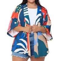 Mais na Moda - Kimono Almaria Plus Size Mais na Moda Estampado Azul