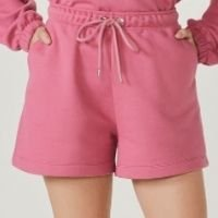 Shorts Feminino Em Moletom - Rosa