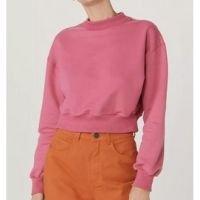 Blusão Moletom Feminino Cropped Em Algodão - Rosa