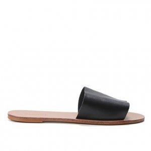 Rasteira Couro Shoestock Slide - Feminino - Preto