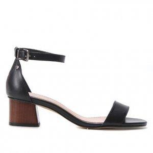 Sandália Couro Shoestock Salto Bloco Baixo Feminina - Feminino - Preto