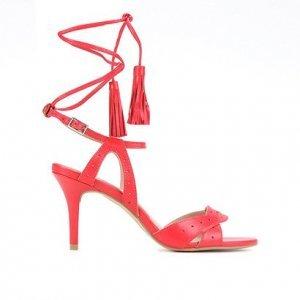 Sandália Couro Shoestock Tassel Salto Alto Feminina - Feminino - Vermelho