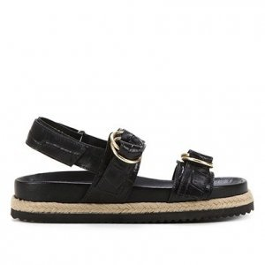 Sandália Papete Shoestock Couro Tira Dupla Croco Feminina - Feminino - Preto