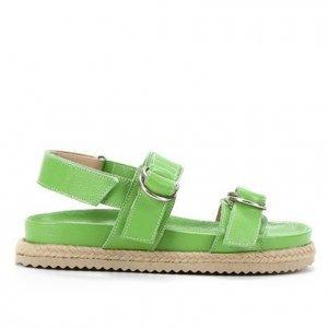 Sandália Papete Shoestock Couro Tira Dupla Feminina - Feminino - Verde