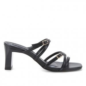 Tamanco Couro Shoestock Salto Grosso Tiras - Feminino - Preto