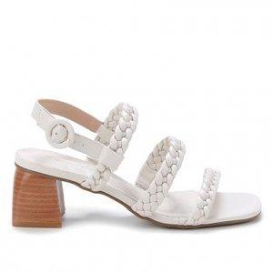 Sandália Shoestock Couro Salto Bloco Trança - Feminino - Off White