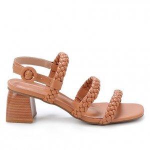 Sandália Shoestock Couro Salto Bloco Trança - Feminino - Caramelo