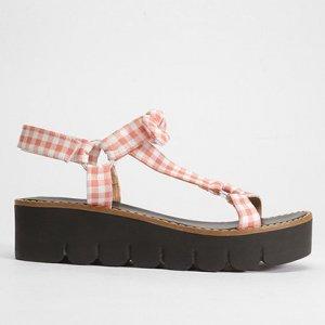 Sandália Papete Shoestock Tecido Vichy Feminina - Feminino - Rosa