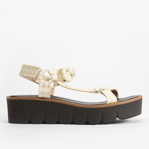 Sandália Papete Shoestock Tecido Vichy Feminina - Feminino - Amarelo