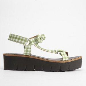Sandália Papete Shoestock Tecido Vichy Feminina - Feminino - Verde