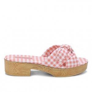 Tamanco Shoestock Clog Xadrez Vichy Laço - Feminino - Rosa