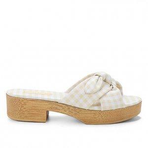 Tamanco Shoestock Clog Xadrez Vichy Laço - Feminino - Amarelo