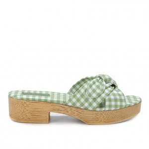 Tamanco Shoestock Clog Xadrez Vichy Laço - Feminino - Verde
