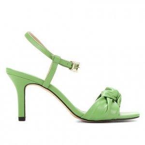 Sandália Couro Shoestock Comfy Salto Médio Feminina - Feminino - Verde