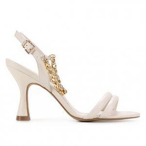 Sandália Couro Shoestock Corrente Salto Fino Feminina - Feminino - Off White