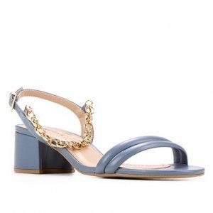 Sandália Couro Shoestock Corrente Salto Médio Bloco Feminina - Feminino - Azul