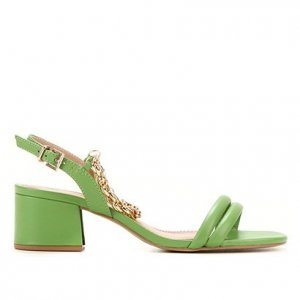 Sandália Couro Shoestock Corrente Salto Médio Bloco Feminina - Feminino - Verde