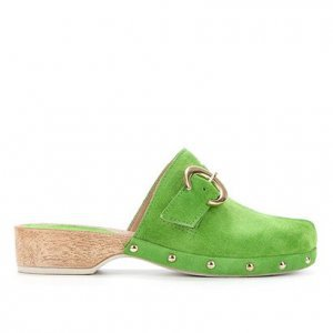 Tamanco Couro Shoestock Clog Camurção Fivela - Feminino - Verde