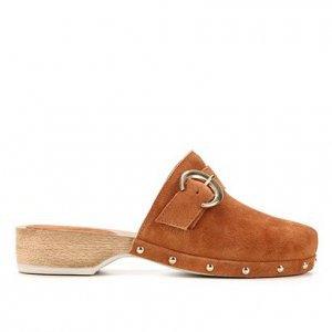 Tamanco Couro Shoestock Clog Camurção Fivela - Feminino - Marrom