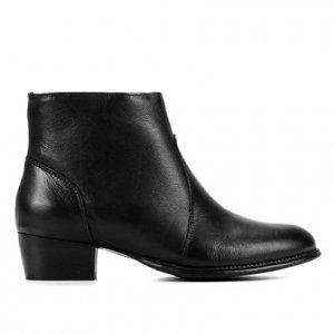 Bota Couro Cano Médio Shoestock Basic Salto Baixo Feminina - Feminino - Preto