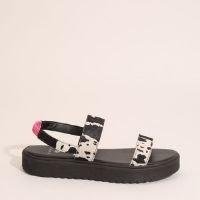 sandália feminina flatform estampada animal print vaca de couro off white