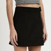 short saia de suede feminino envelope preto