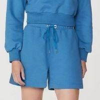 Shorts Feminino Em Moletom - Azul