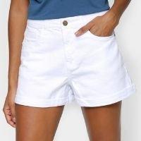Shorts Cantão Balonê Cintura Alta Feminino - Branco