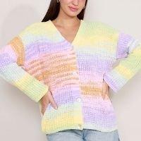 cardigan oversized de tricô decote redondo multicor