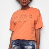 Camiseta Colcci Diferença Eco Active Feminina - Laranja