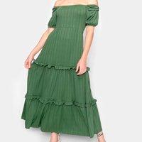Vestido Longo Modaloka Ombro a Ombro Com Babado Feminino - Verde