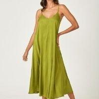 Vestido Zinzane Acetinado Amarração Costas M - MARROM - Verde