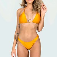 Biquini Liso Tecido Lycra Canelado Cortininha Bojo Removivel Verao Moda Praia - Amarelo