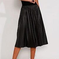 saia feminina midi plissada resinada preta