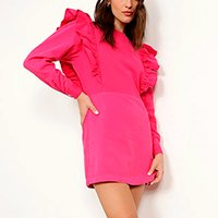 vestido de sarja com babado curto manga longa mindset pink
