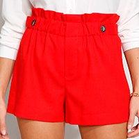 short feminino cintura alta clochard com linho e botões vermelho