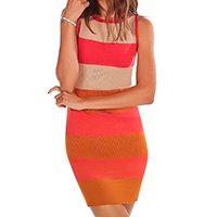 vestido zinco curto decote redondo tricô laranja