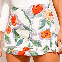short saia de viscose estampado floral cintura alta off white