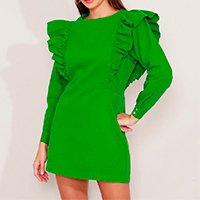 vestido de sarja com babado curto manga longa mindset verde