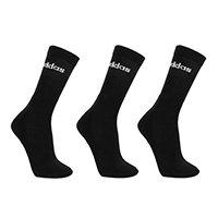 Meia Adidas Cano Alto Logo Linear c/ 3 Pares - Preto+Branco