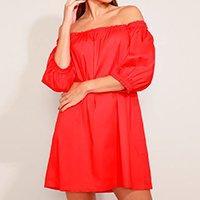vestido feminino mindset curto ombro a ombro manga curta bufante vermelho