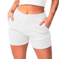Conjunto Shorts Feminino Moletom + Cropped Moletom Tendência - Branco